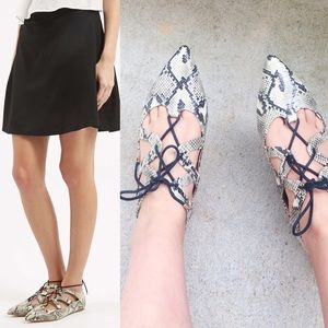 Topshop Snake Print Lace up Flats 40